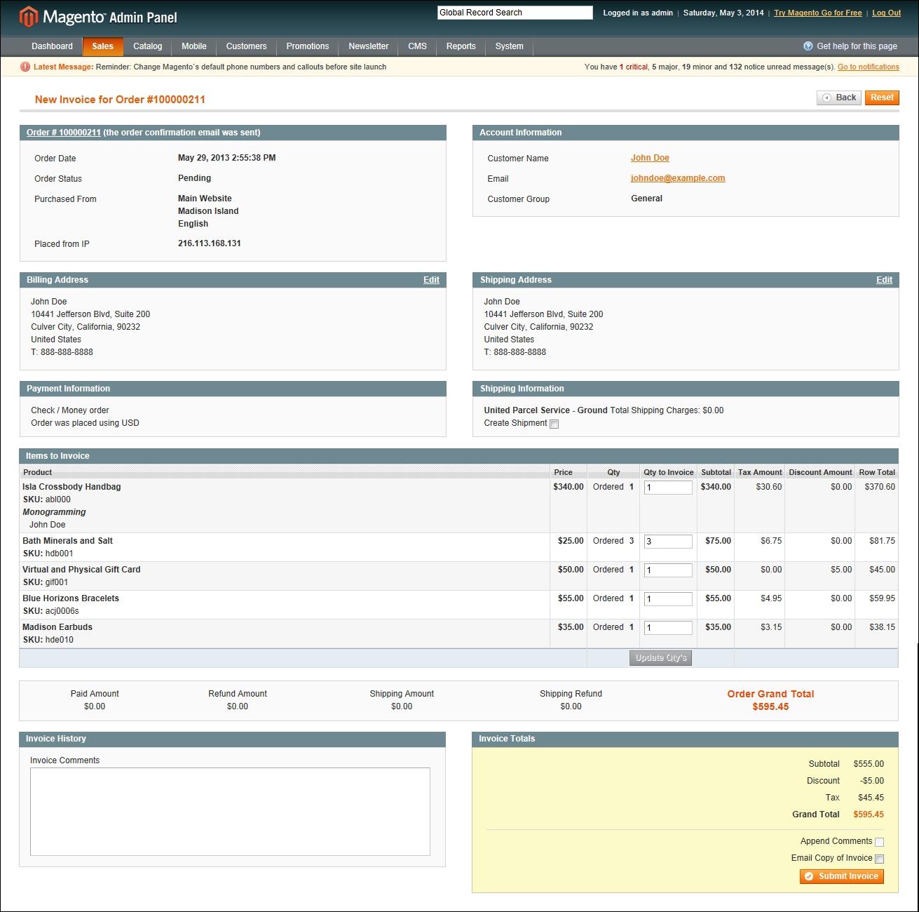 invoice an order magento create invoice