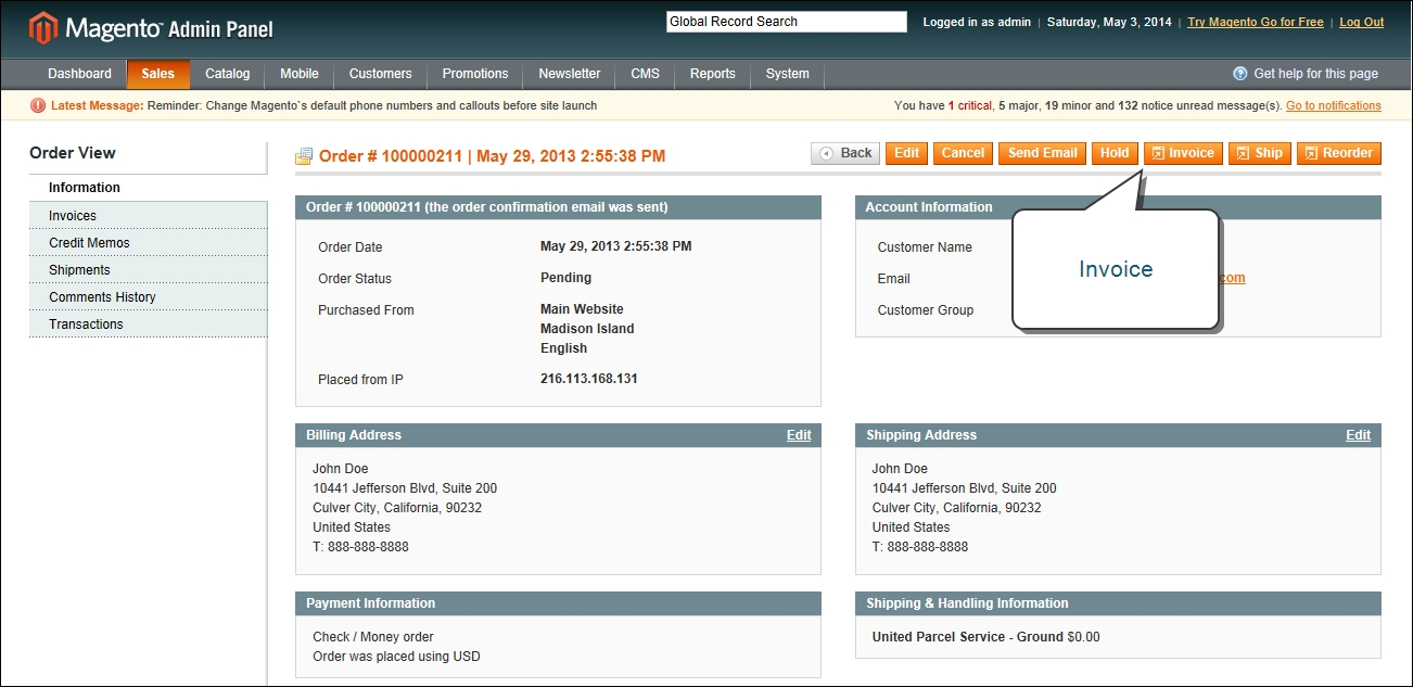 invoice an order magento create invoice