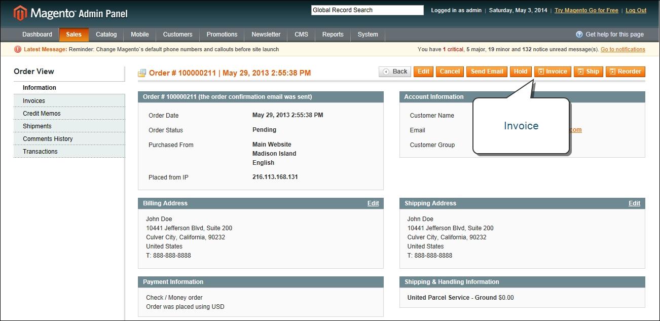 Magento Create Invoice