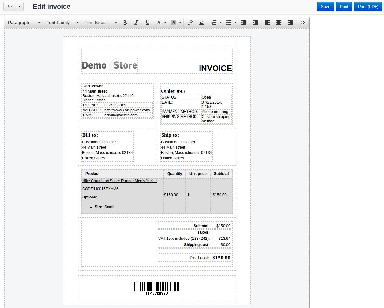 invoicepacking slip constructor cs cart add on cart power invoice packing slip