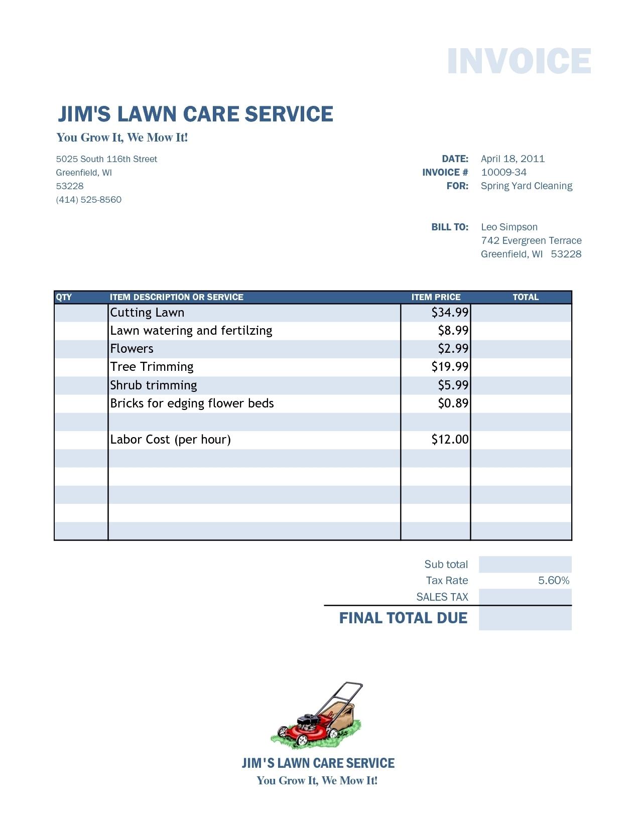 lawn service invoice lawn care invoice template excel design invoice template 1275 X 1650