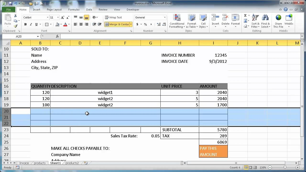 Make Invoice In Excel