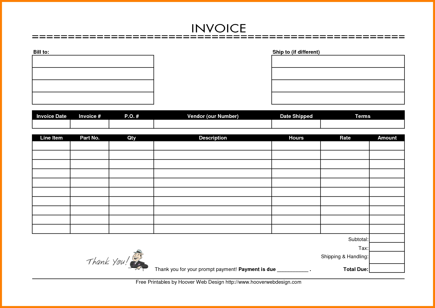 Printable Invoices Download Commercial Invoice Template For Free Printable  Invoice Pdf ...