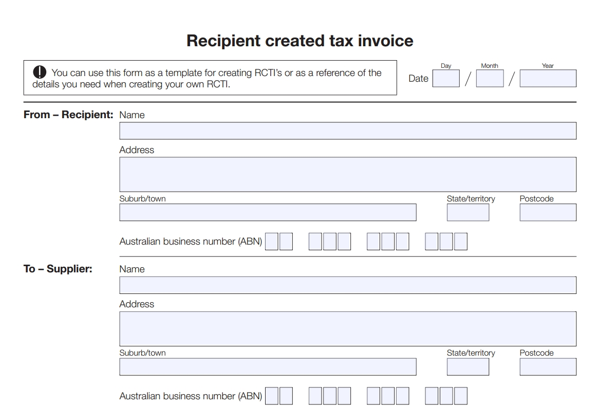 recipient created tax invoice template free download e bas recipient created tax invoice agreement