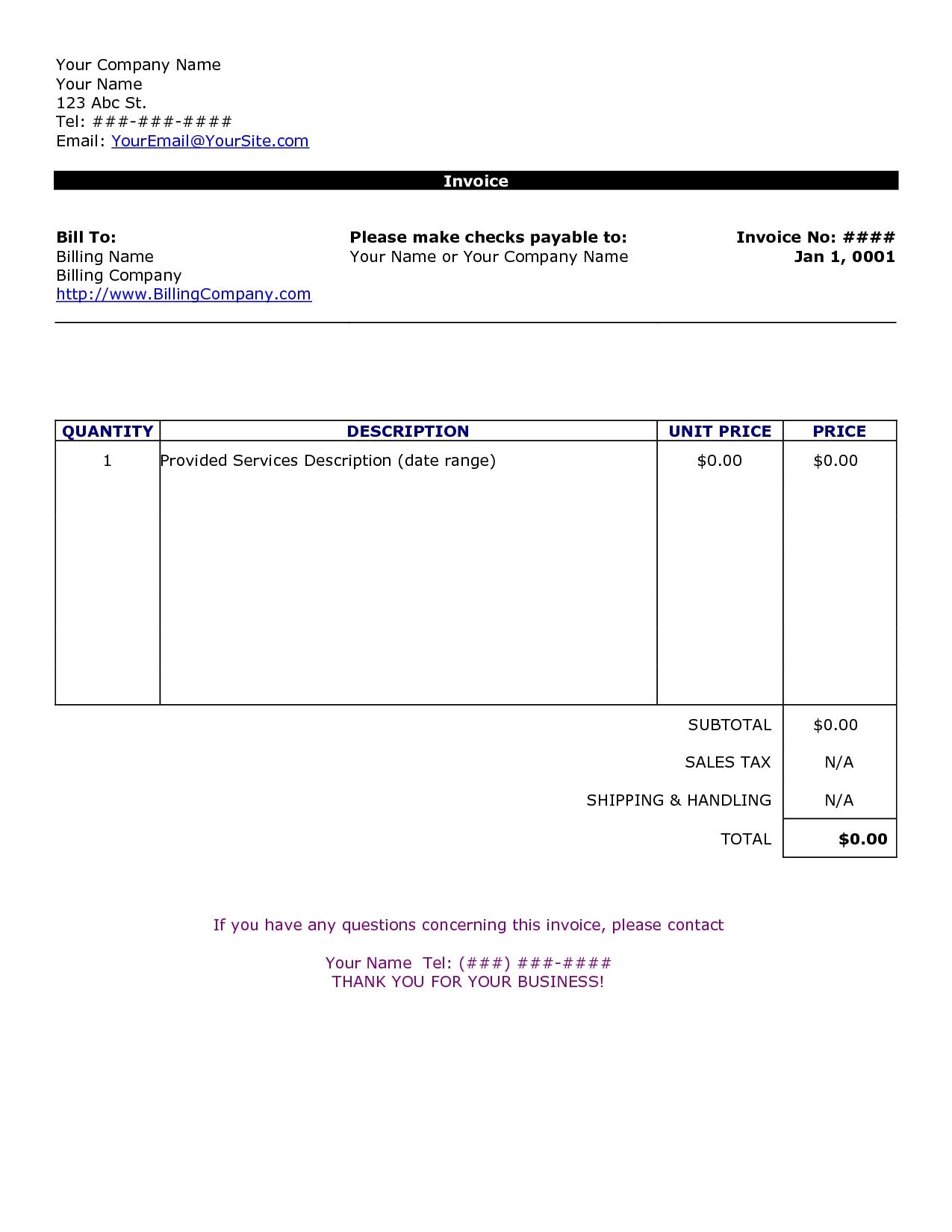 sample invoice template free company letterhead word template basic invoice template free