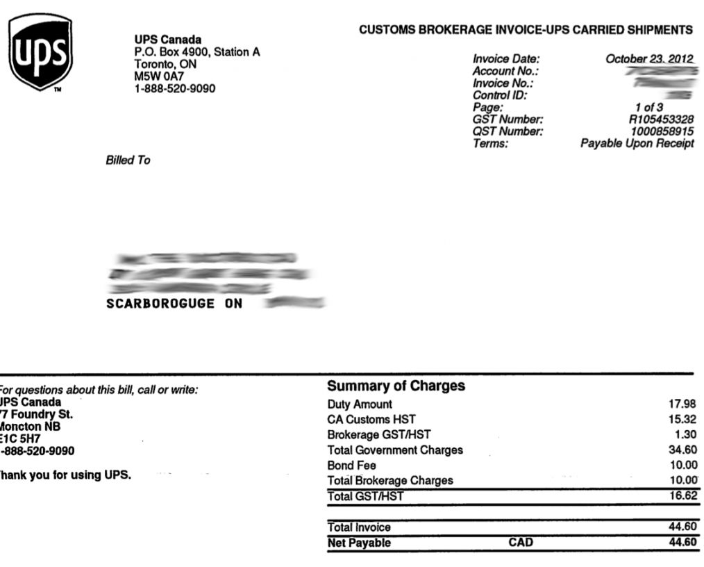 Ups Invoice Number