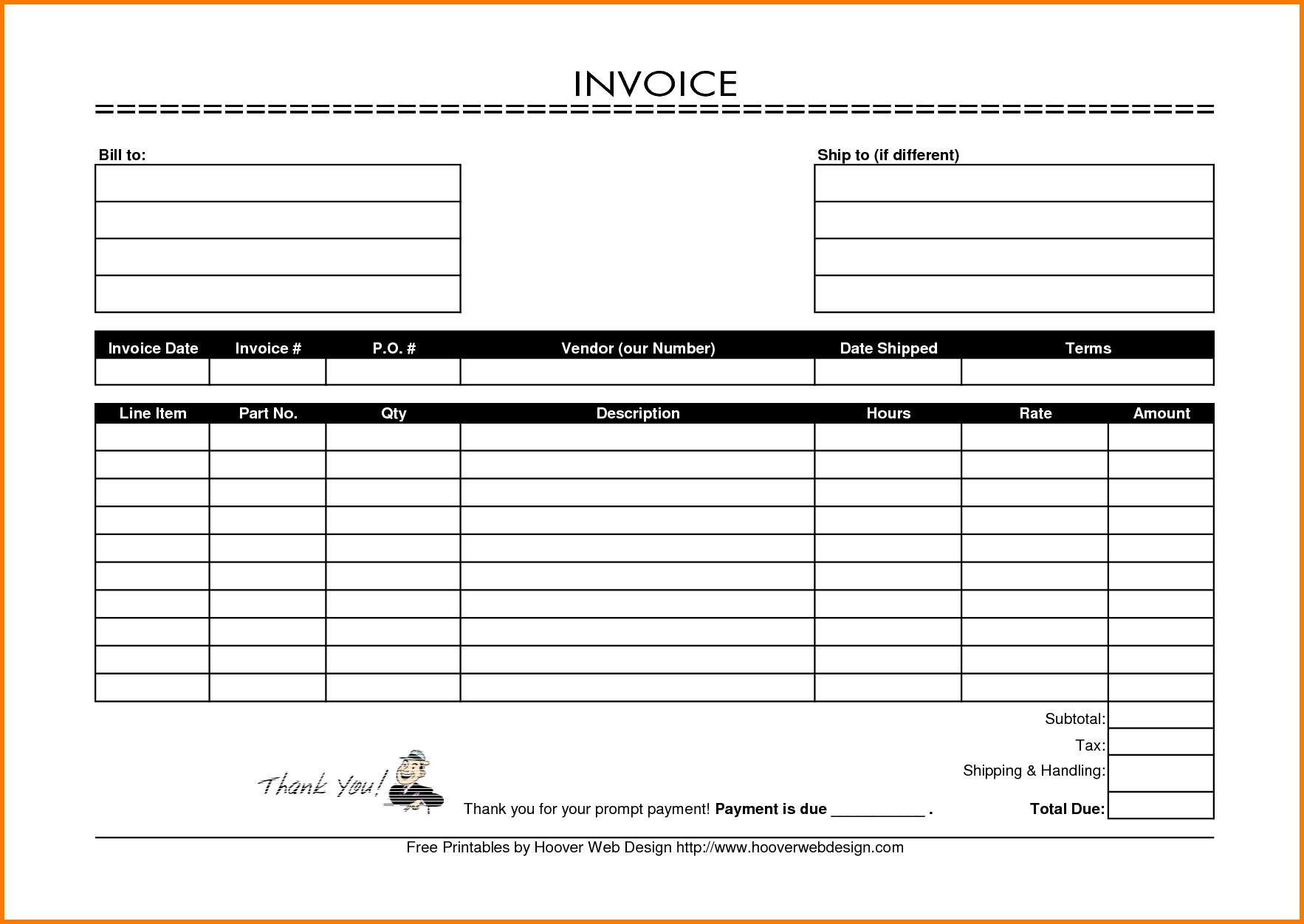 7 printable invoice template receipt templates free 245 hsbcu printable invoices free