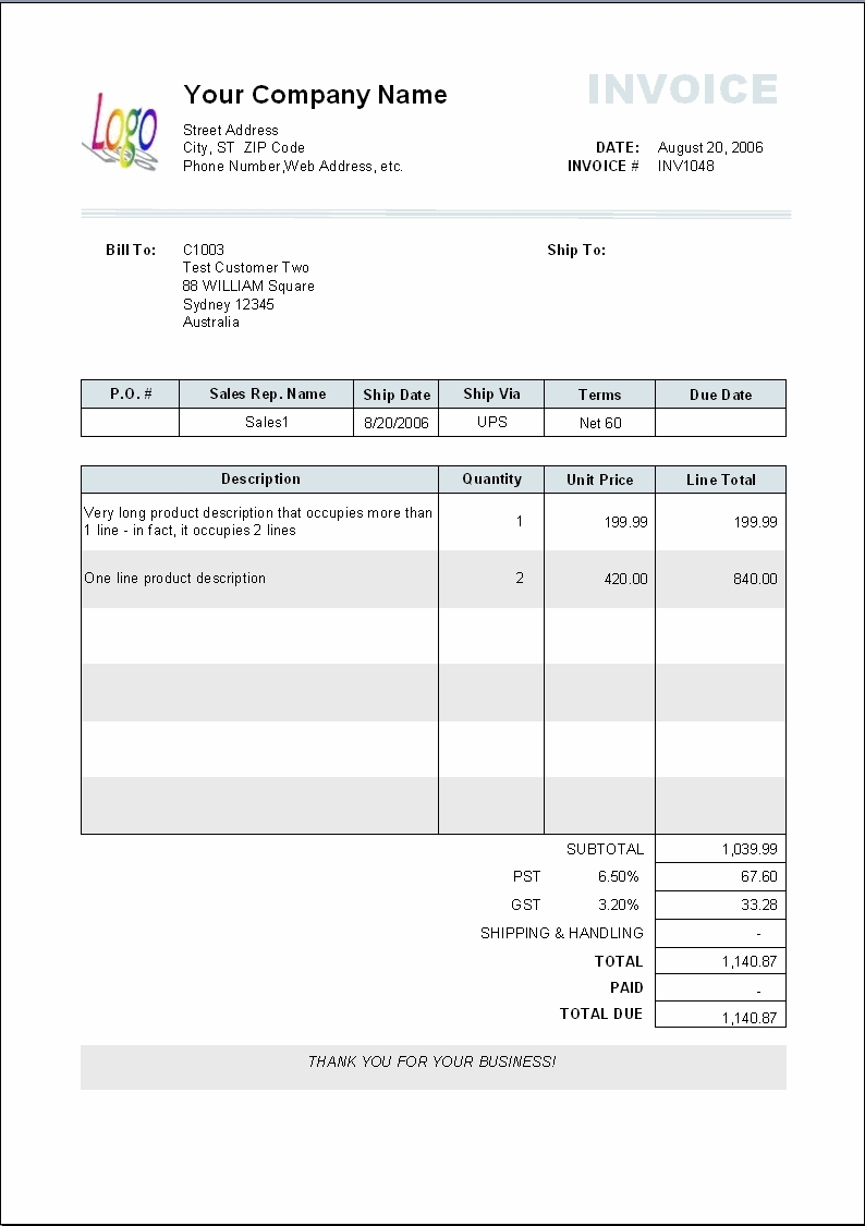 business templates bill format sales invoice example template word business invoice format