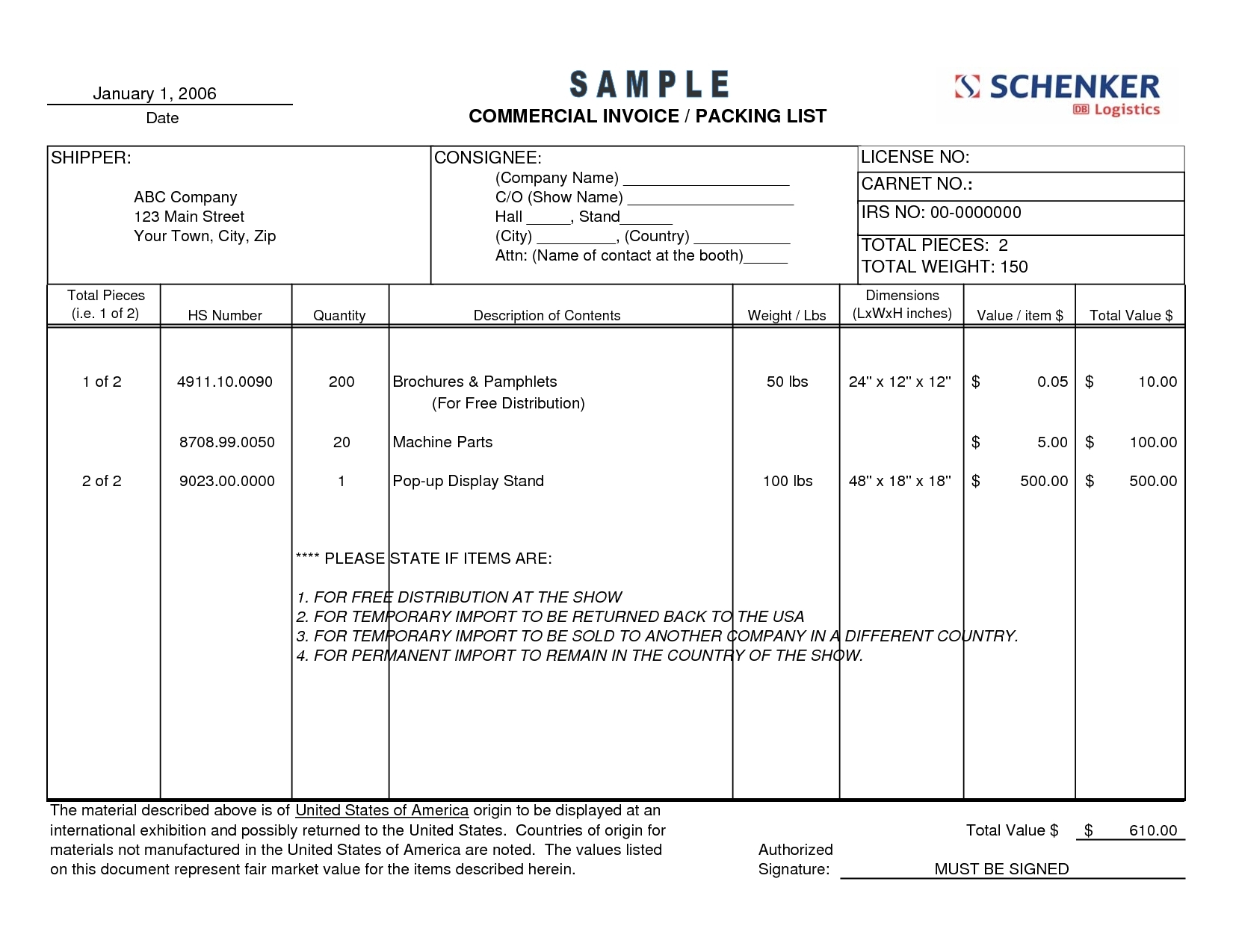 commercial invoice packing list   invoice template ideas