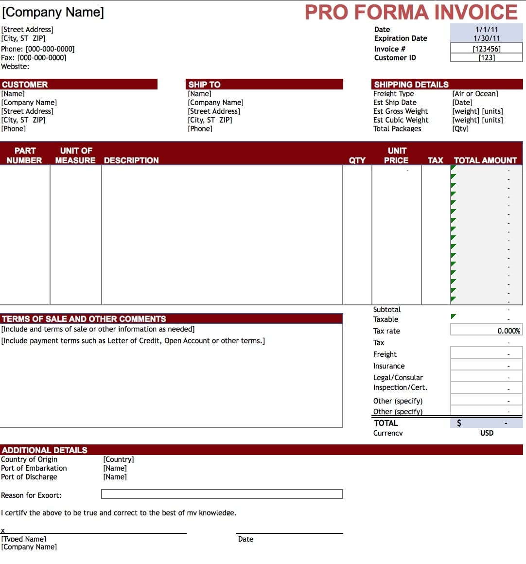 Sample Copy Of Proforma Invoice