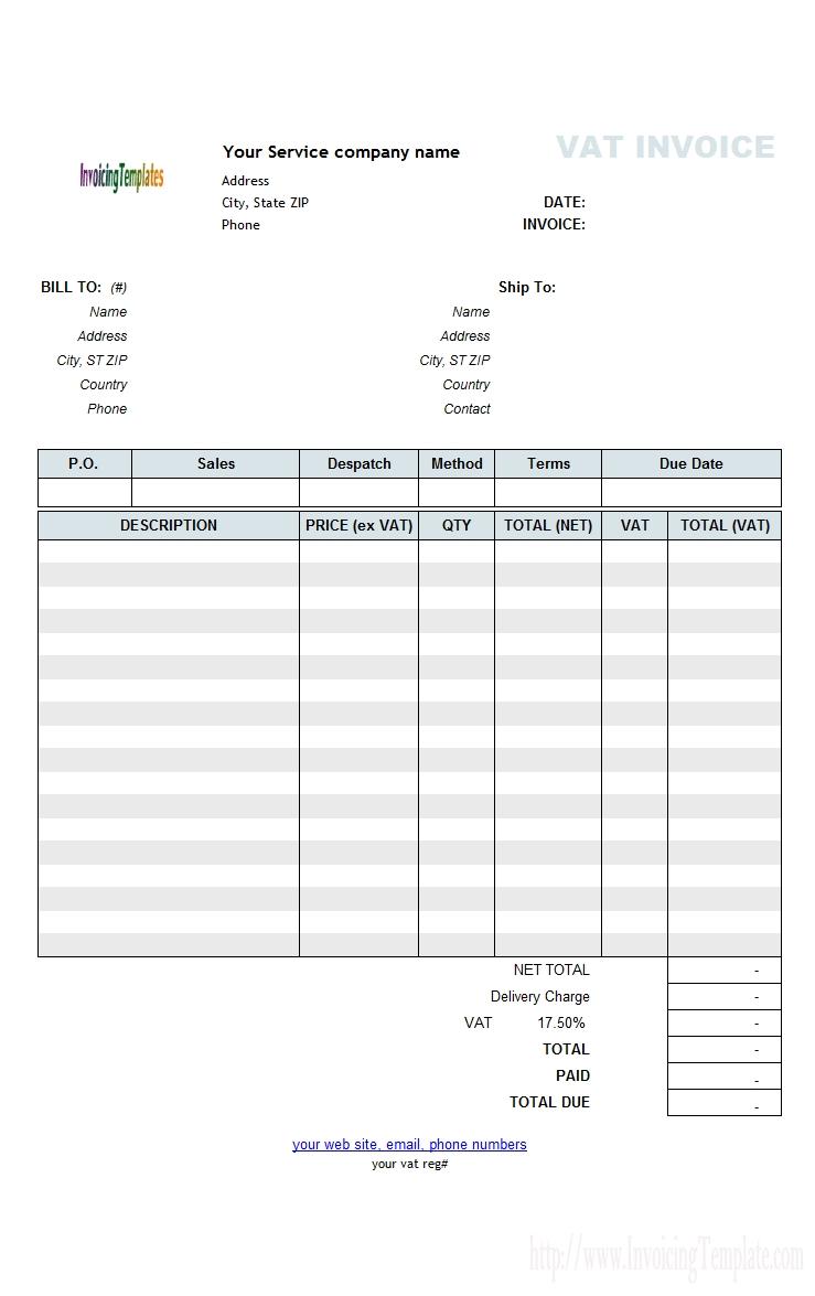 free service invoice template service invoice template 739 X 1175