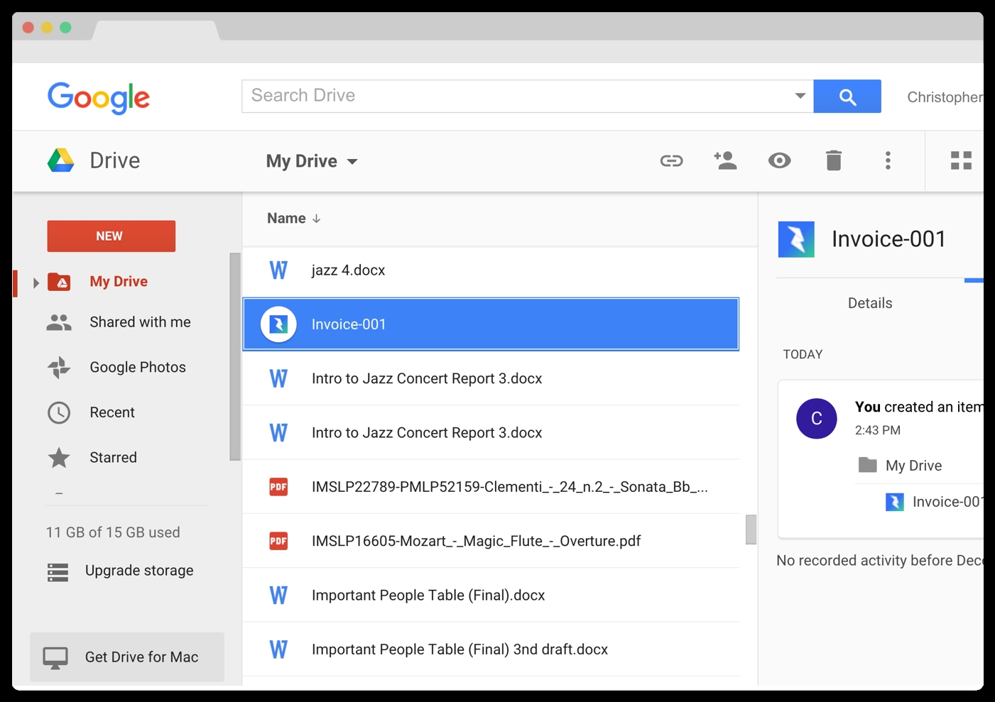 Invoice Google Drive