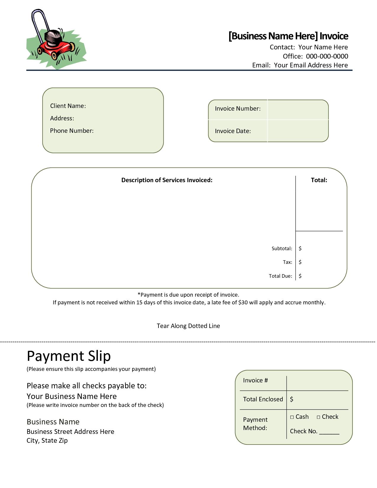 lawn service invoice template free lawn care invoice template all about template 1275 X 1650