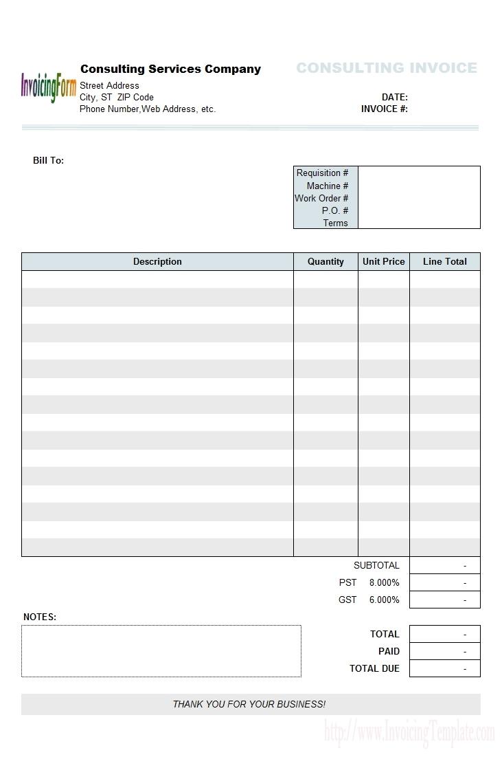 Ms Custom Invoice Template