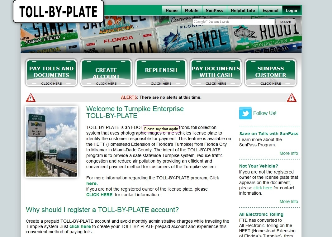 Florida Toll By Plate Invoice