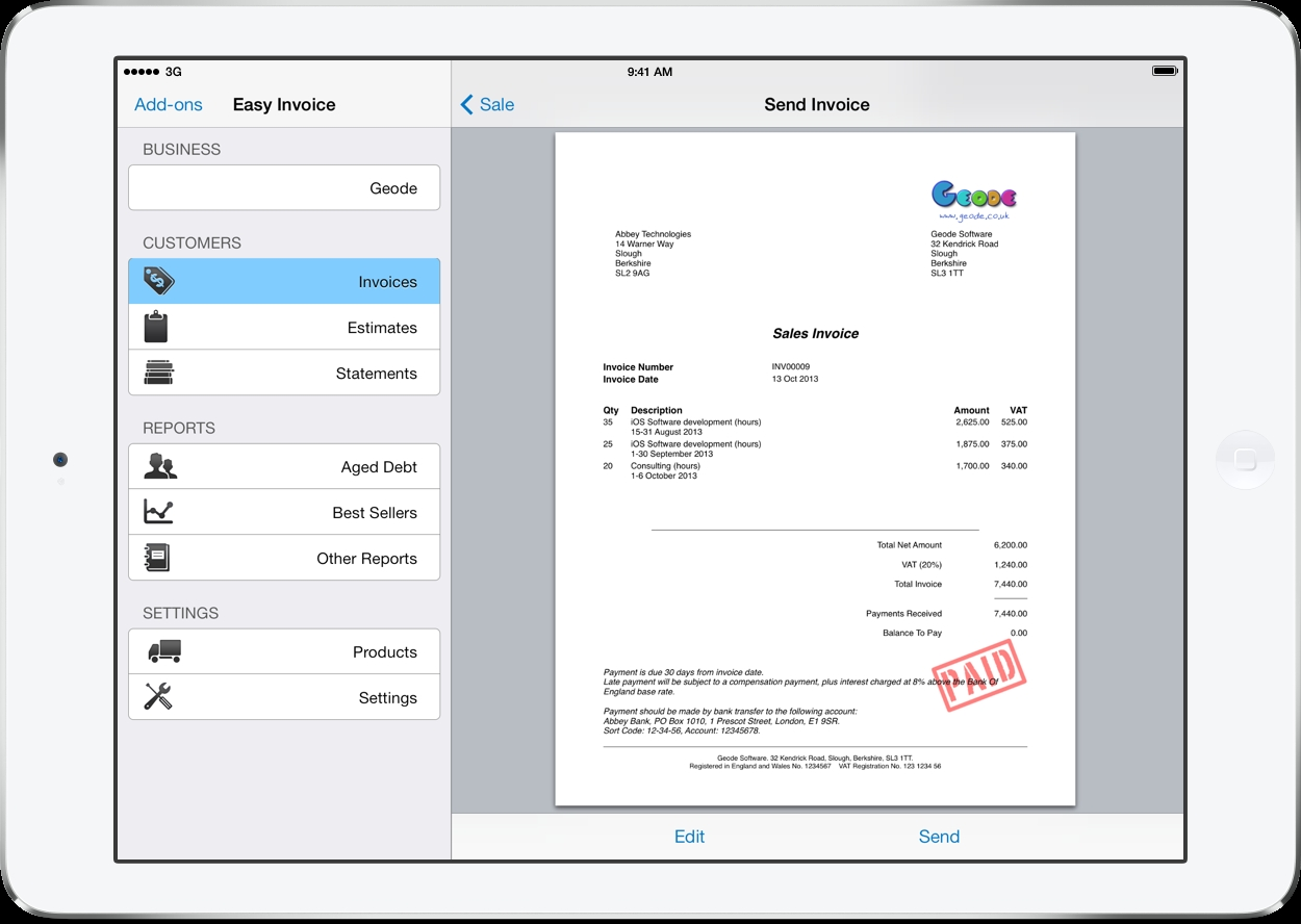 pdf invoicing for ipad iphone and mac easy invoice invoice generator app