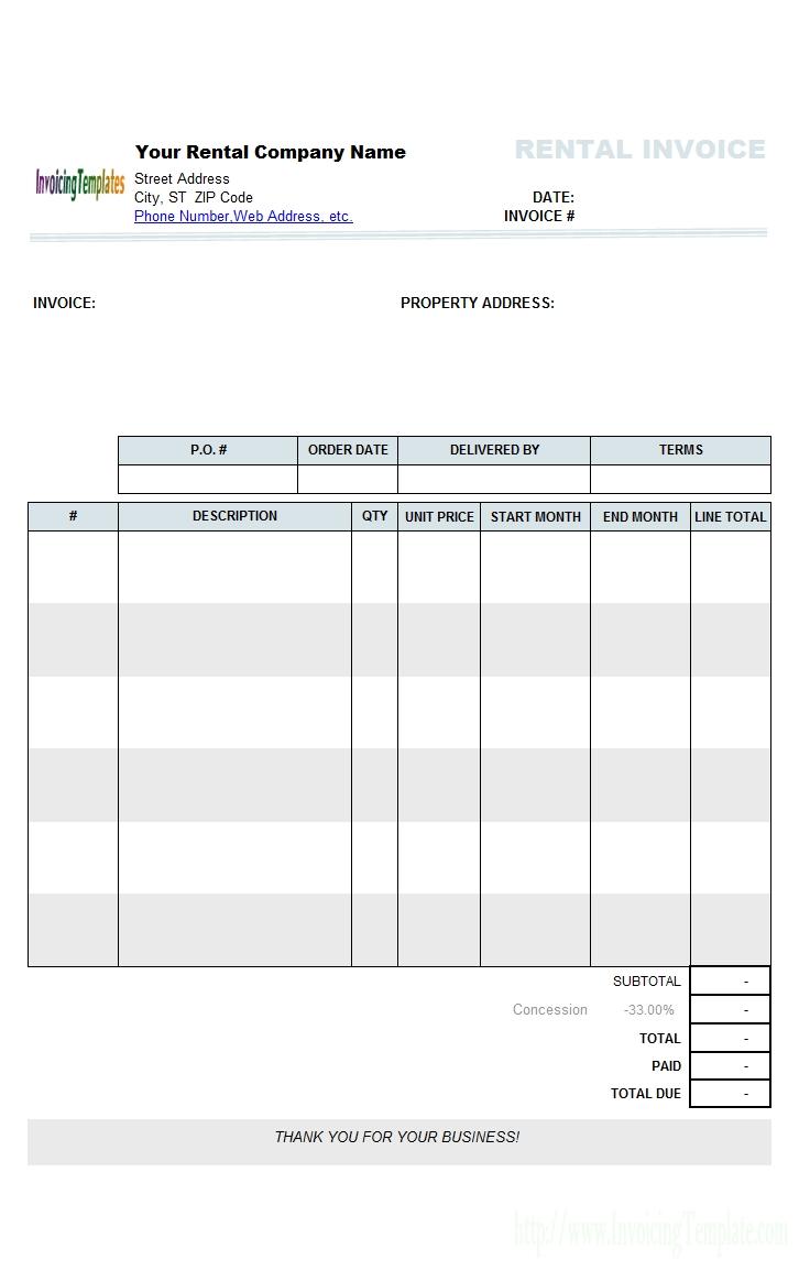 rental1 printed rental invoice template word