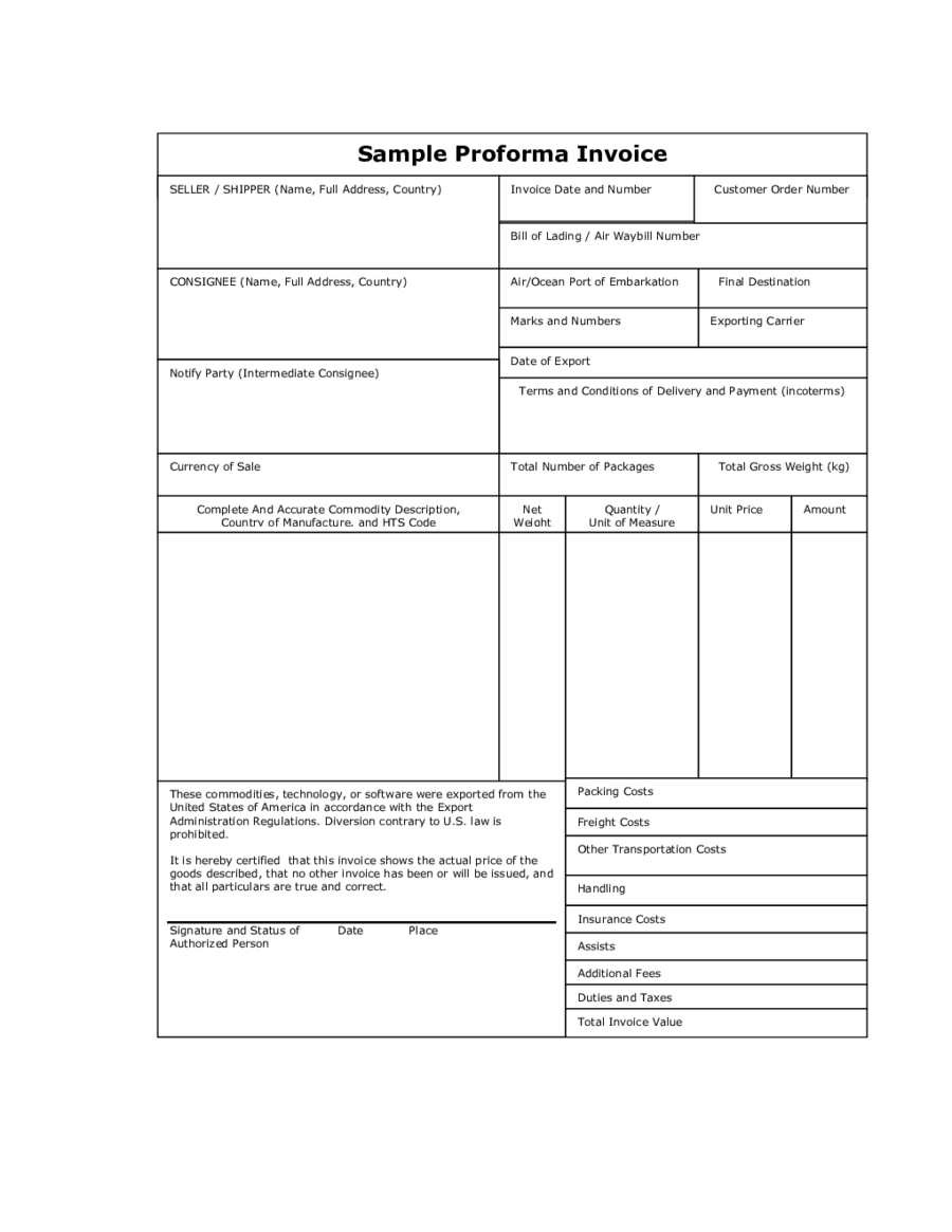 sample of proforma invoice for export define proforma invoice