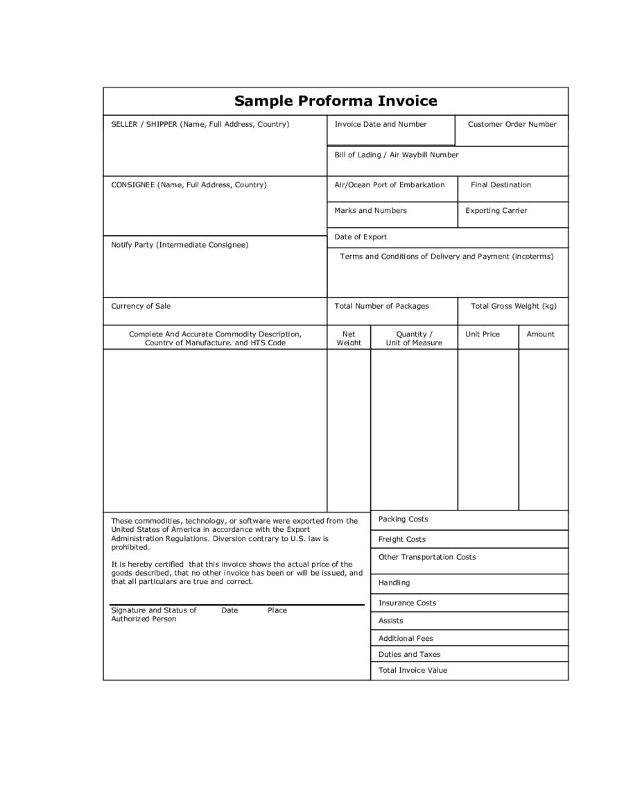 sample of proforma invoice for export define proforma invoice