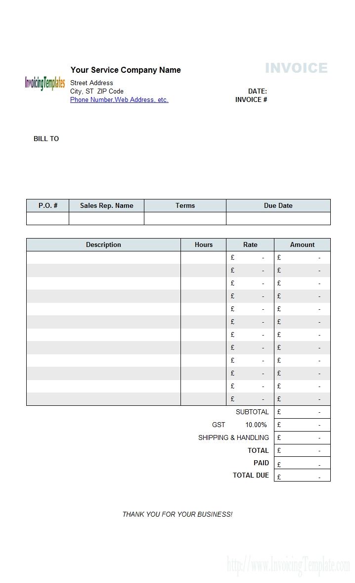 service vat invoice template invoice uk template