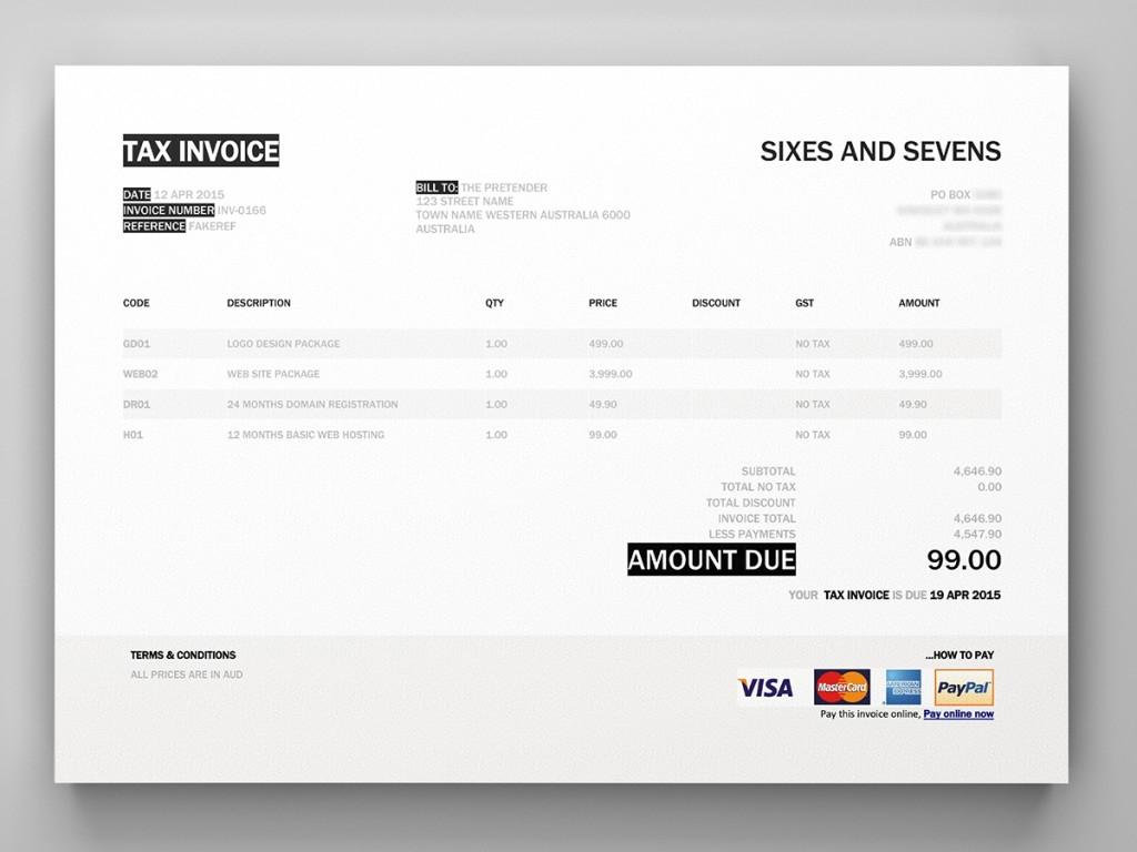Xero Invoice Template