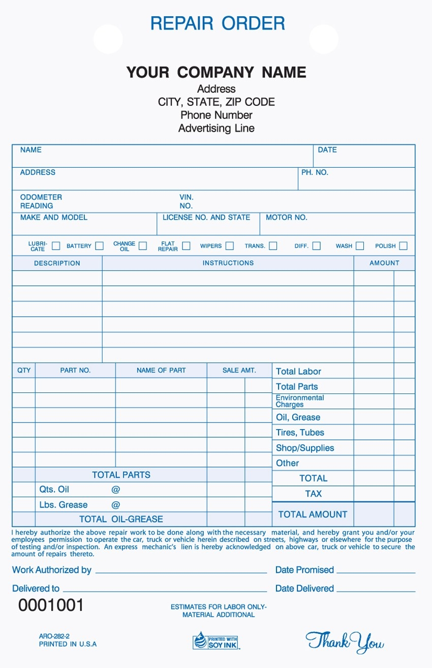 vehicle repair invoice   invoice template ideas