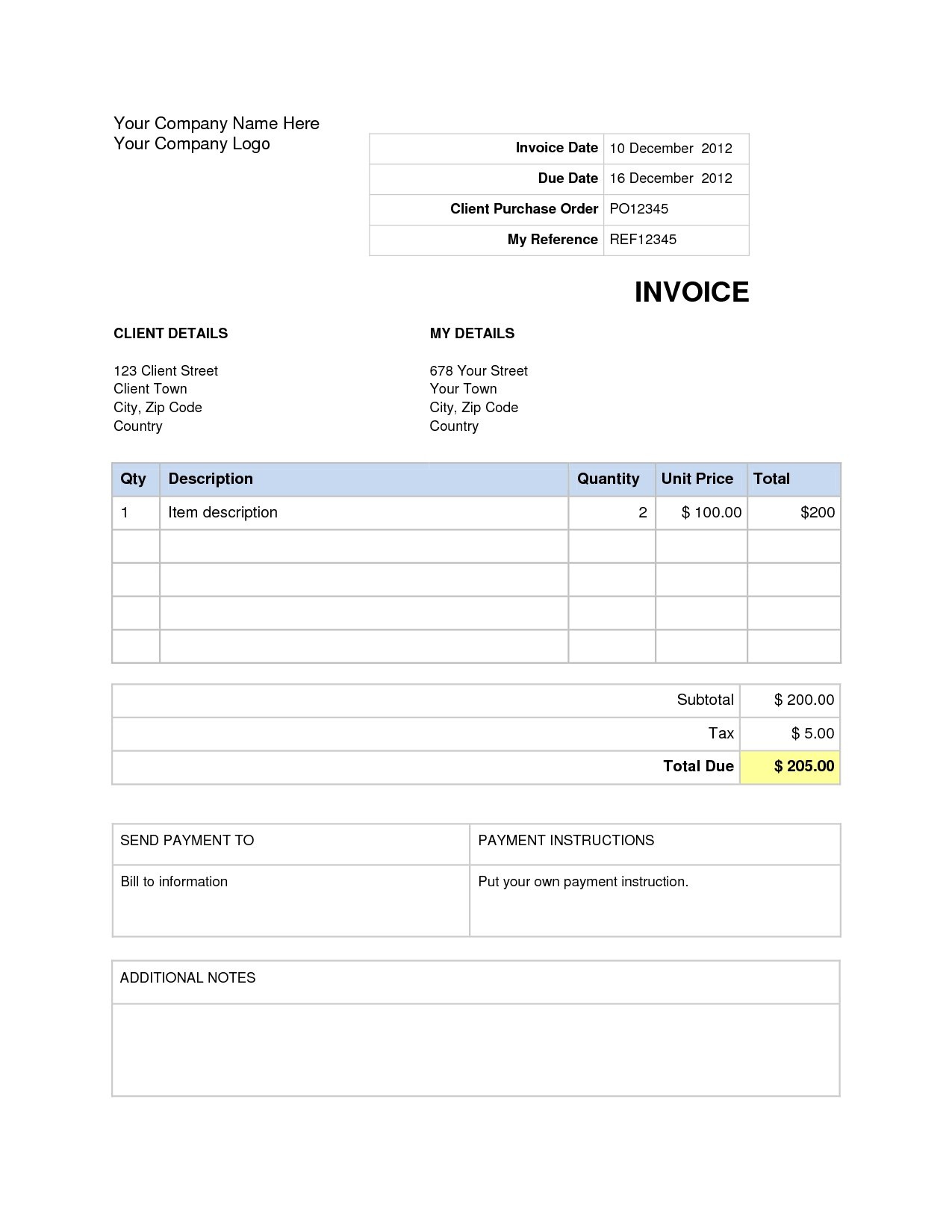Blank Invoice Template For Word