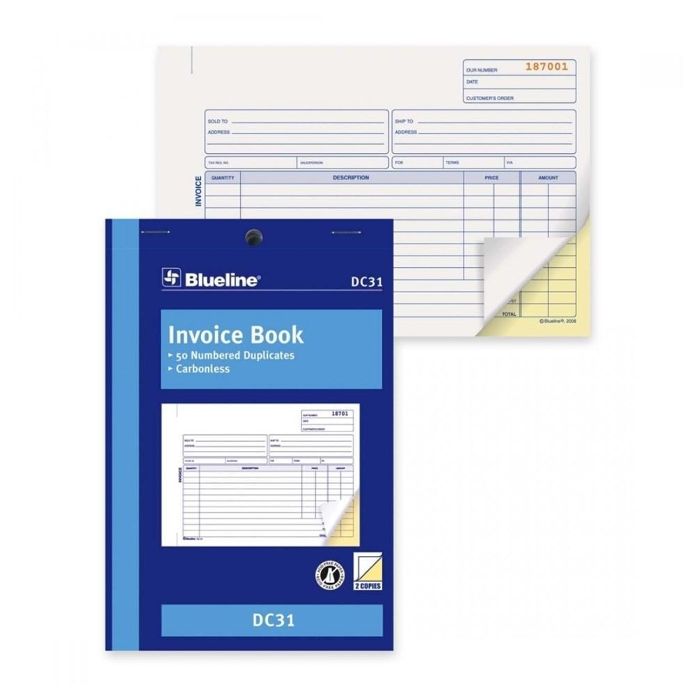 blueline blank invoice book carbonless copy 123inkcartridges canada business invoice books