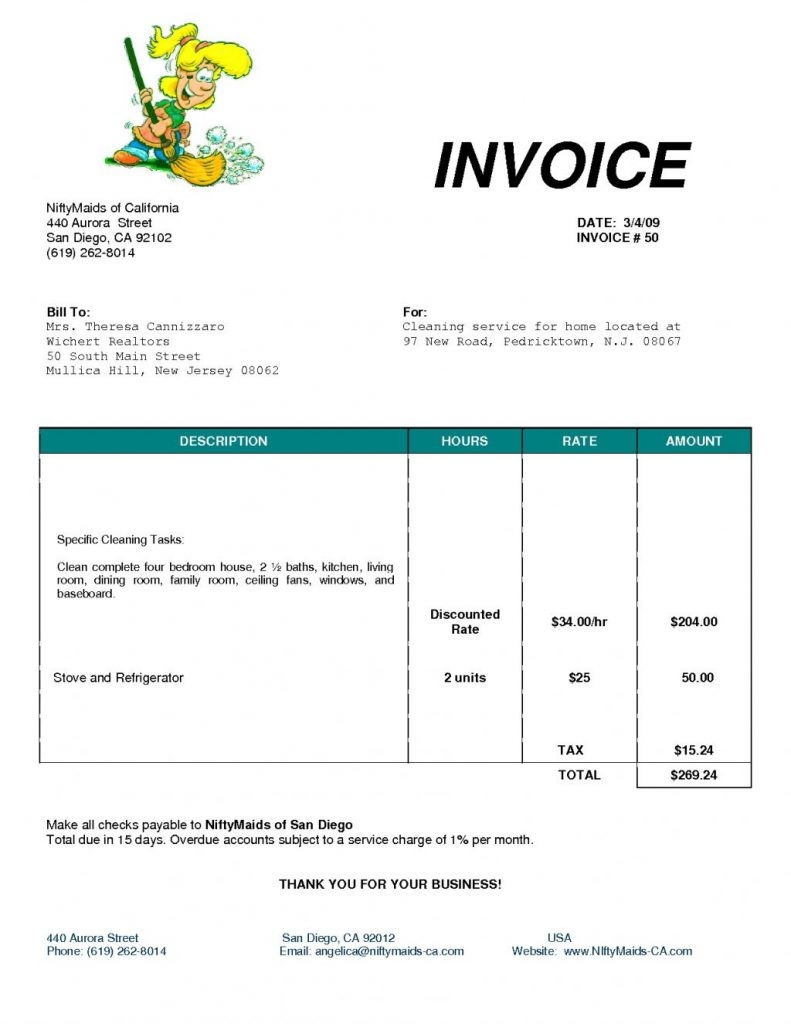 Cleaning Service Invoice Invoice Template Ideas – Cleaning Service Receipt