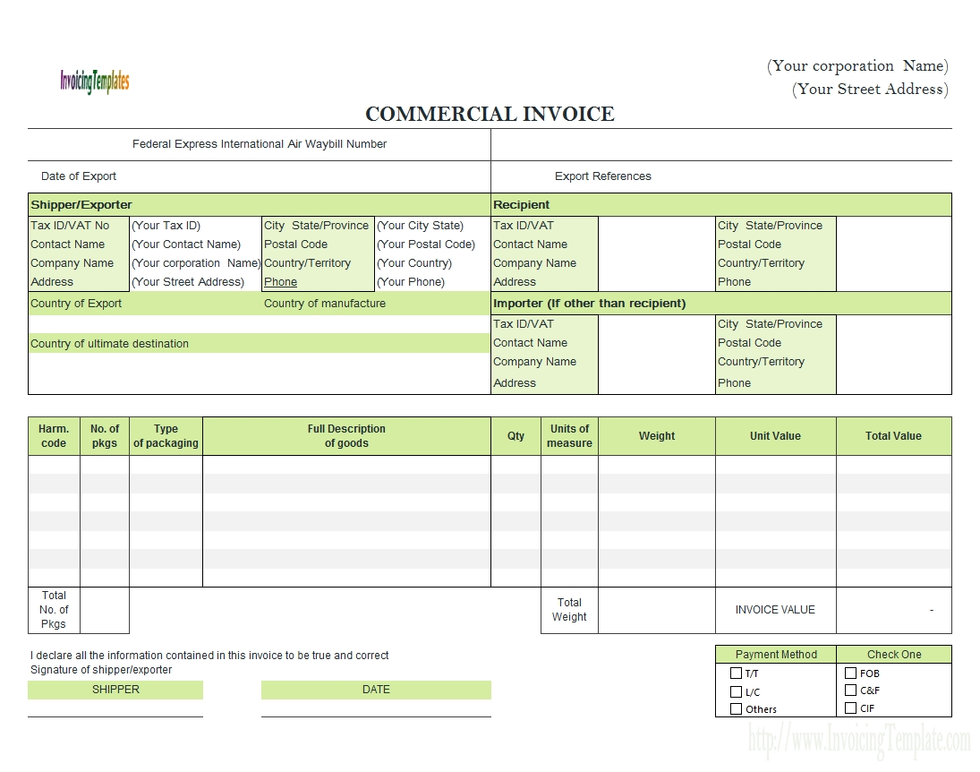 commercial invoice templates paid document sample payment method invoice payment method
