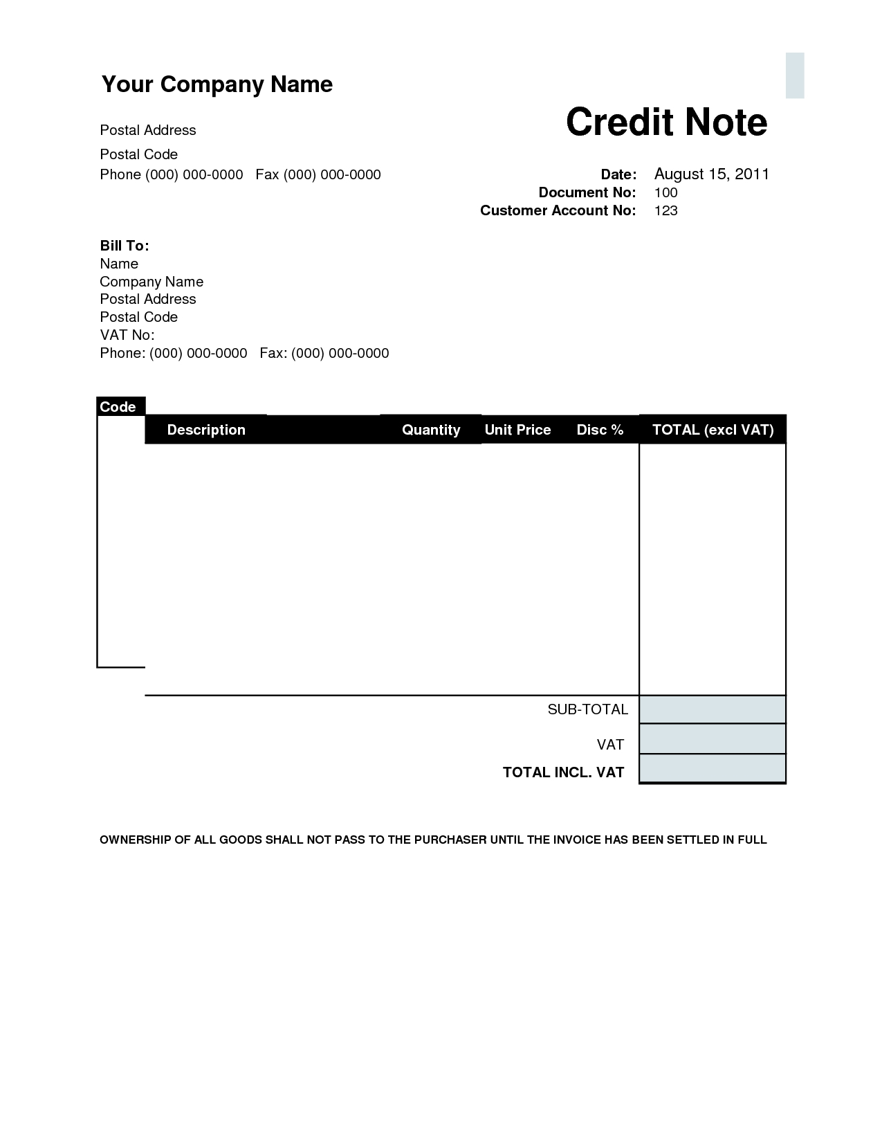 Credit Invoice Template
