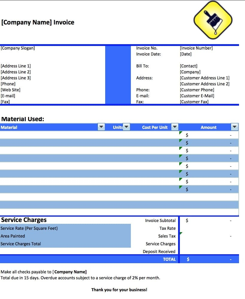 Painting Invoice Sample * Invoice Template Ideas