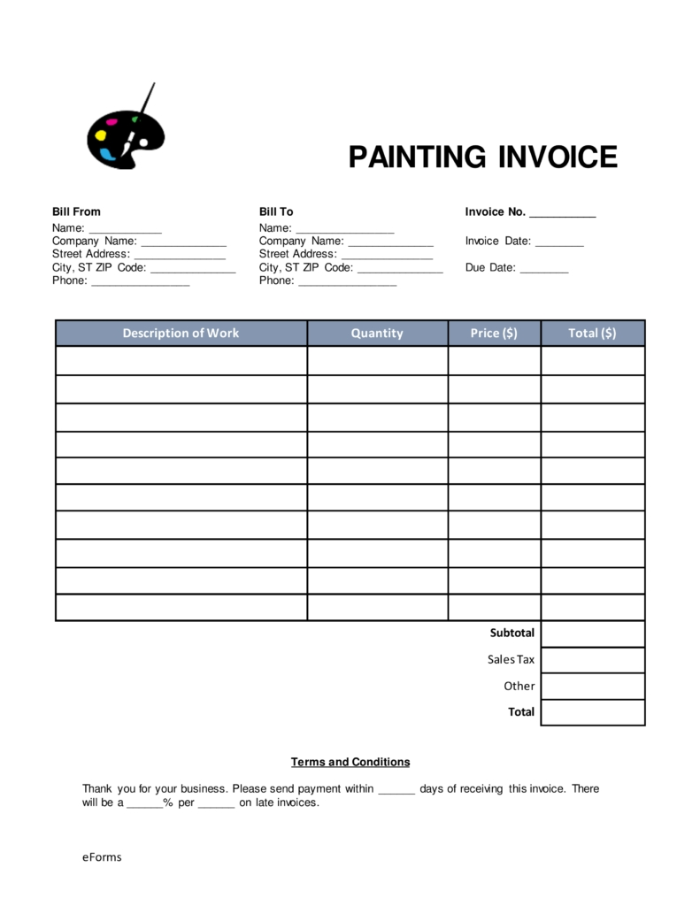 free painting invoice template word pdf eforms free painting invoice template