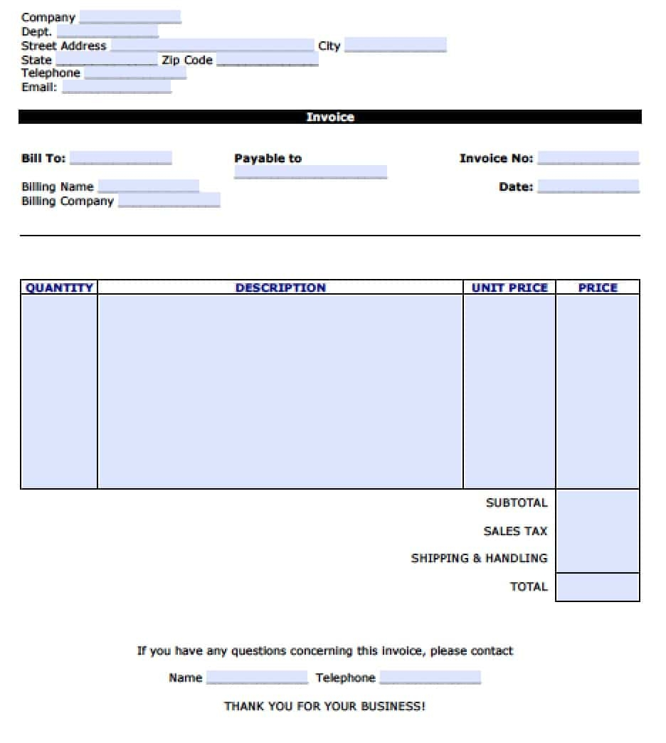 free personal invoice template excel pdf word doc personal invoice template