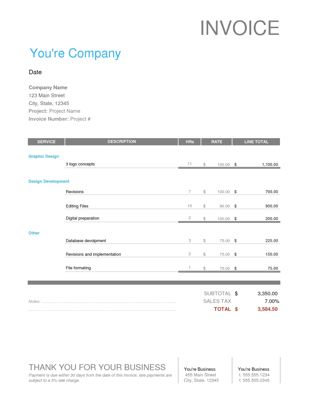 invoice template word document7 hot web based billing and web development invoice template