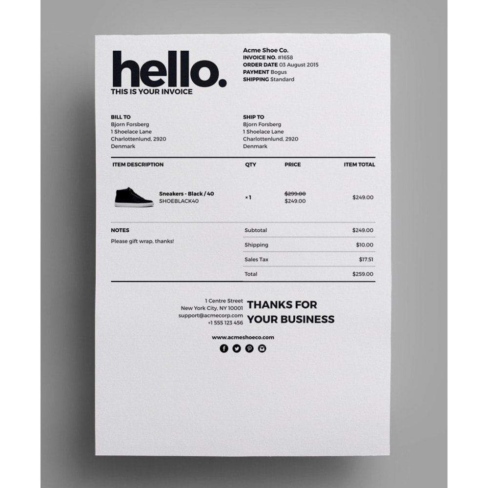 Invoice Template Html
