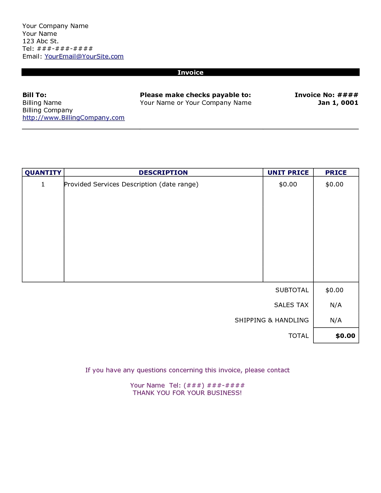 simple invoice template free to do list personal invoice template