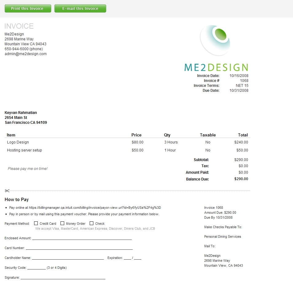 Intuit Invoice Manager