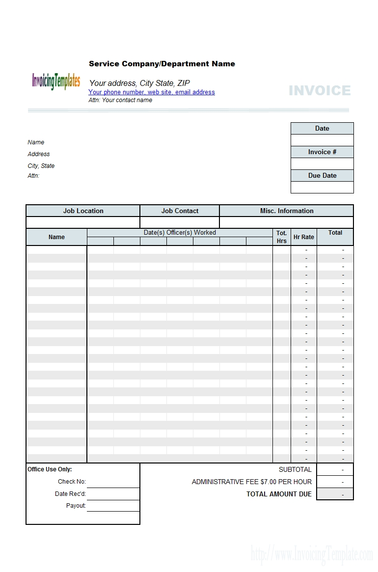 Employee Invoice Template