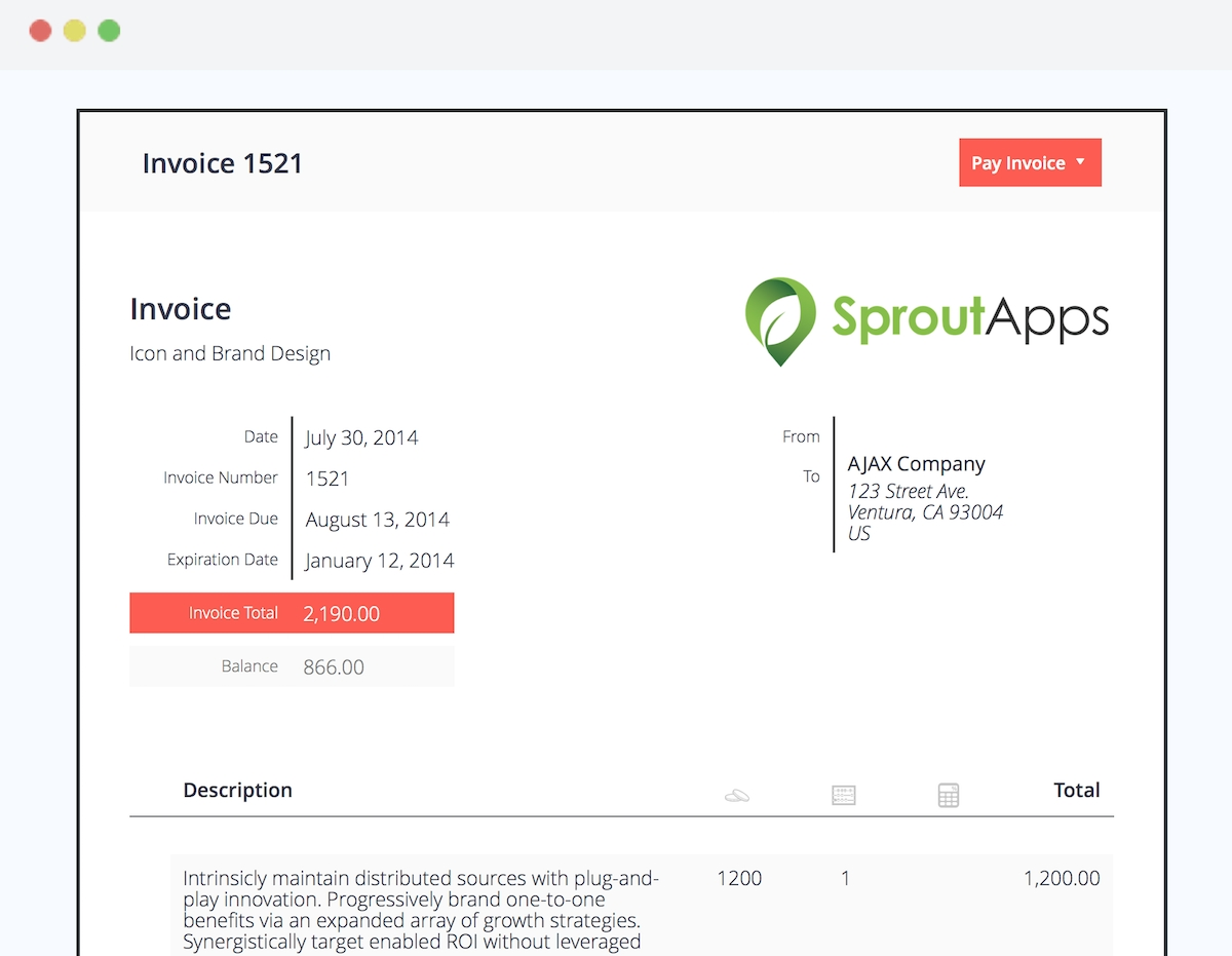 wordpress invoice plugin sprout invoices sprout apps invoicing for wordpress sites 1200 X 931