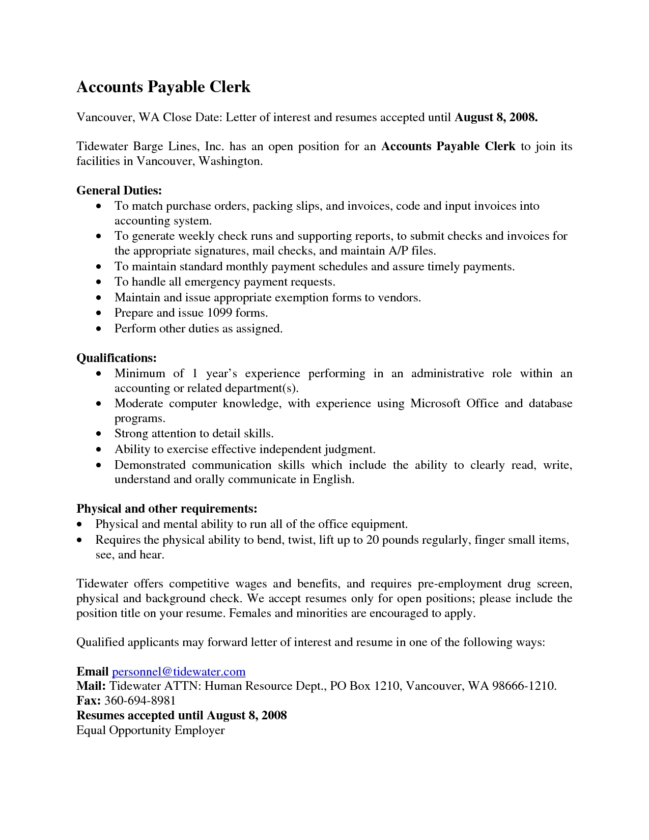 accounting experience description in resume invoice clerk duties