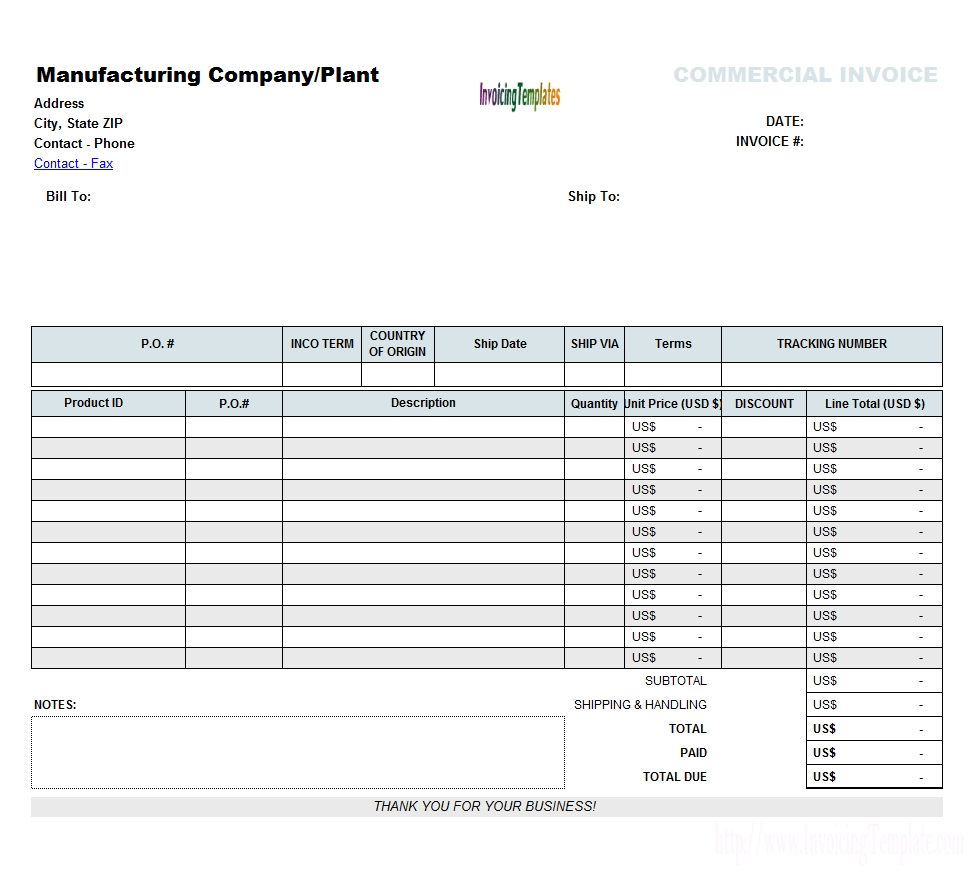 commercial invoicing template commercial invoice excel template