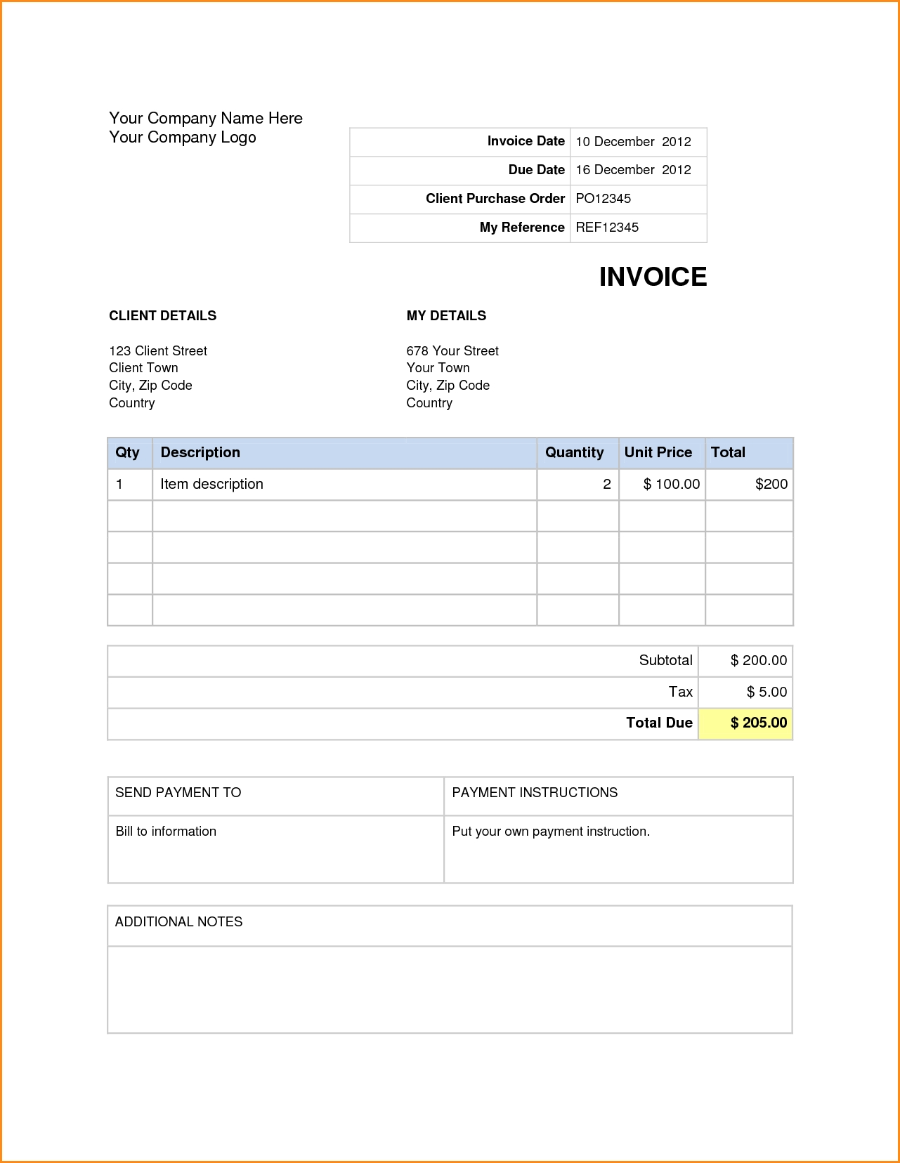 Creating An Invoice In Word