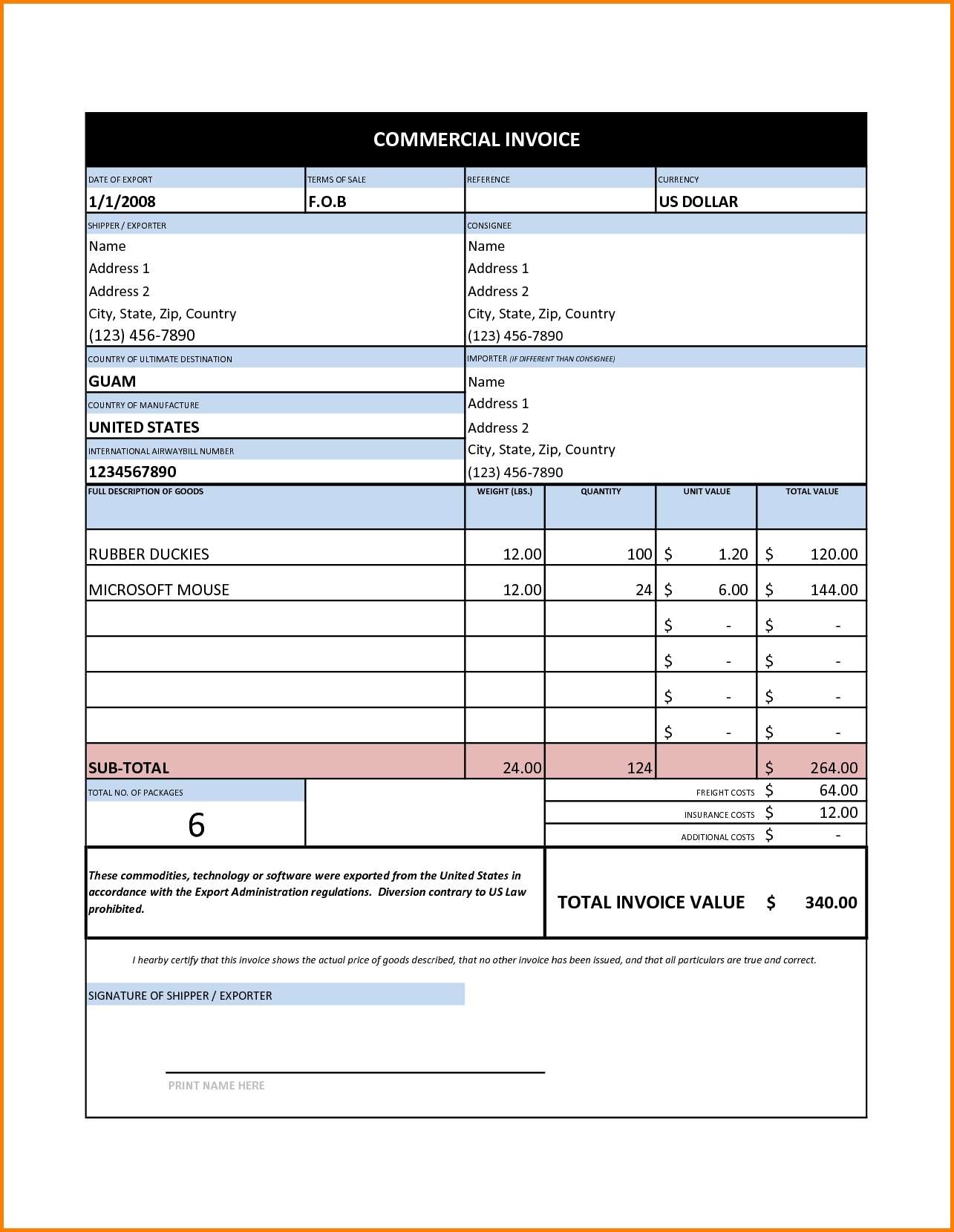 Commercial Invoice Excel Template