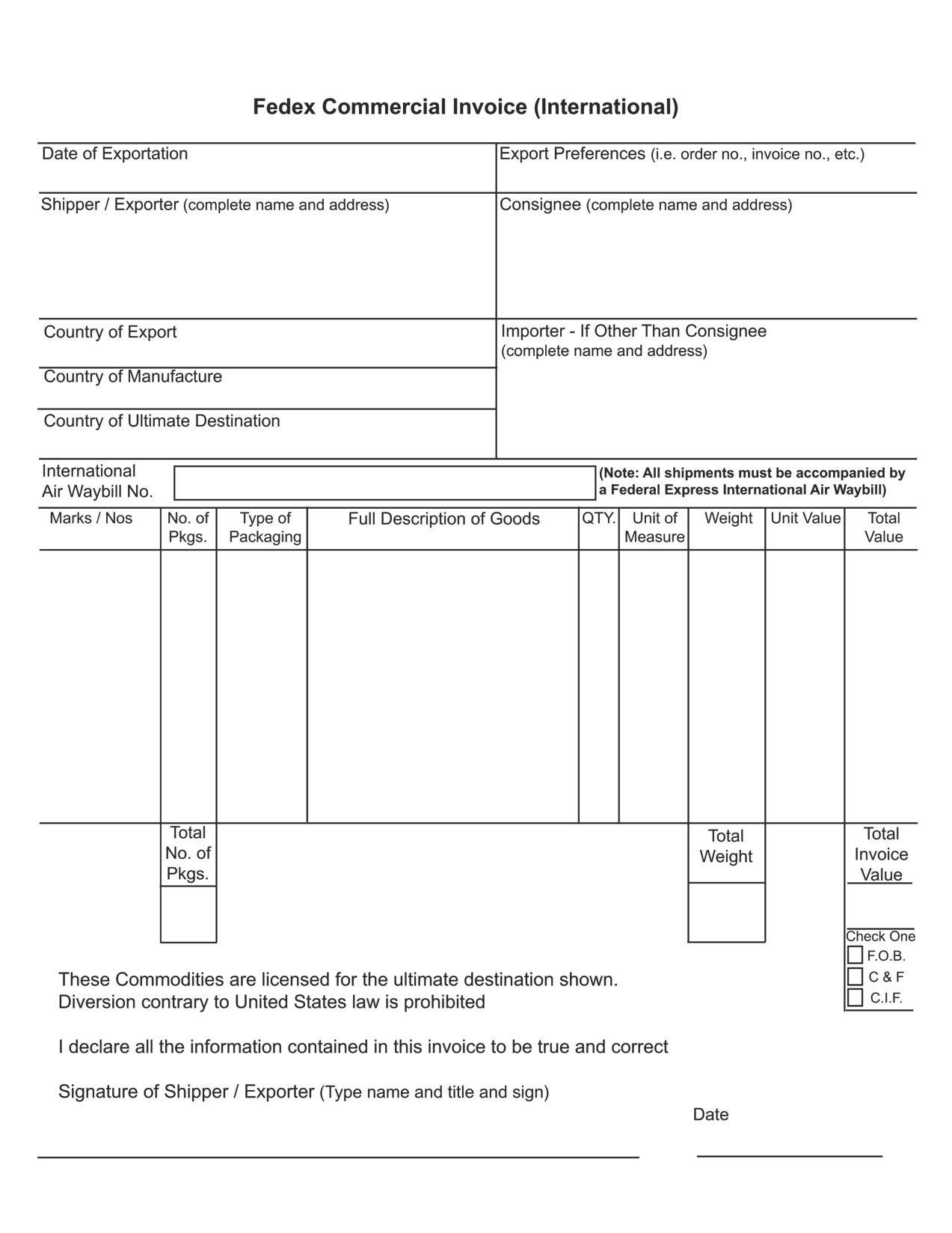 fedex commercial invoice form best business template fedex international commercial invoice form