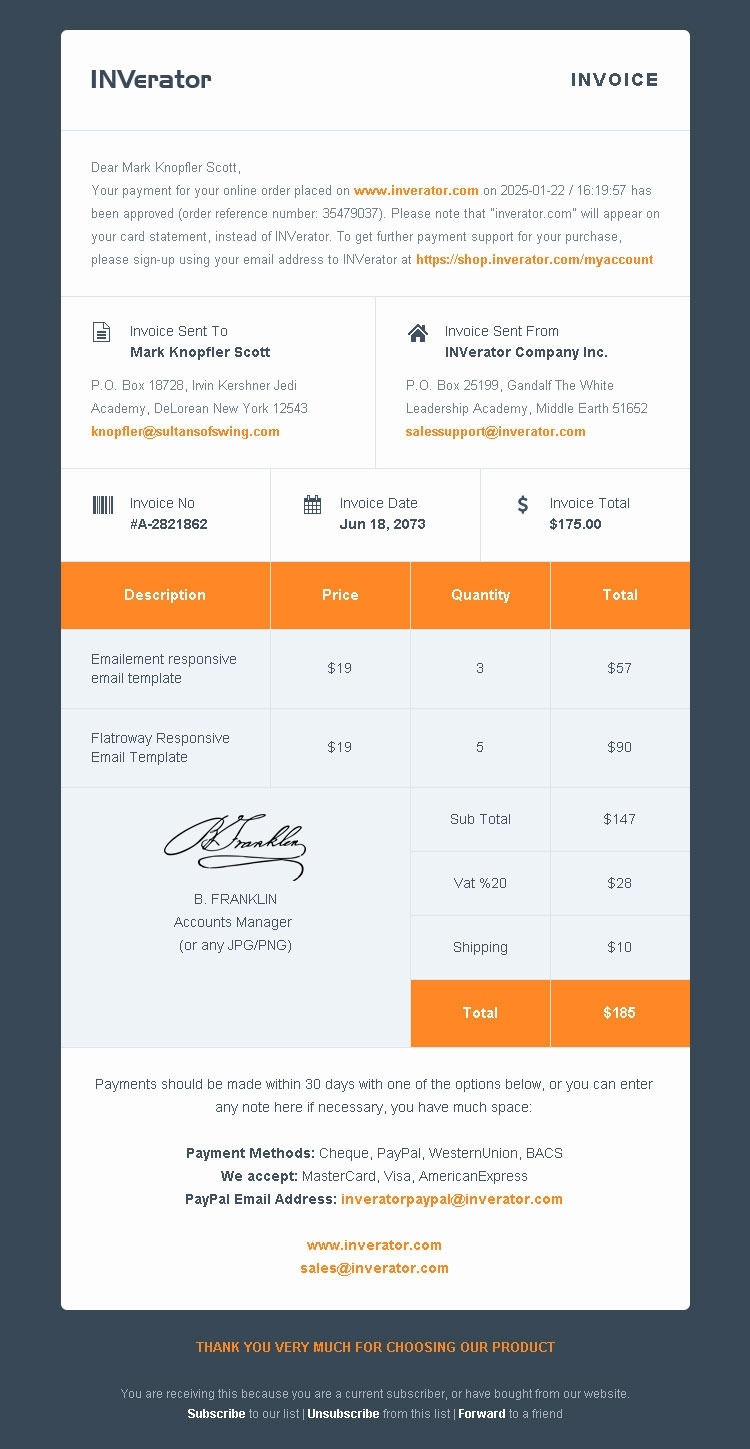 Invoice Template Email