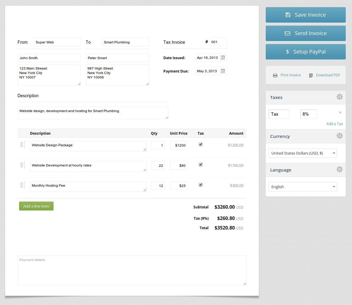 Free Html Invoice Template