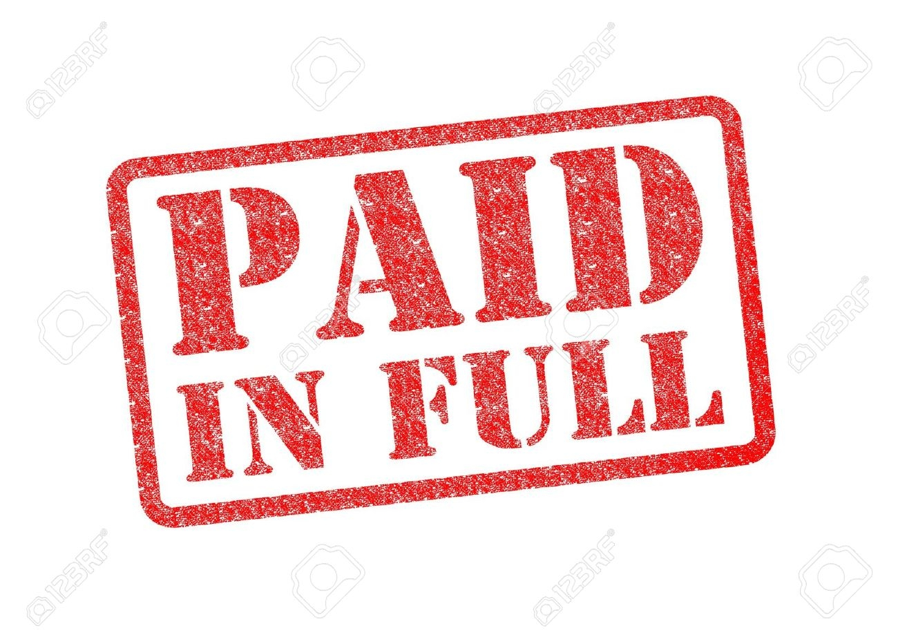 invoice paid in full paid in full red rubber stamp over a white background stock photo 1300 X 919