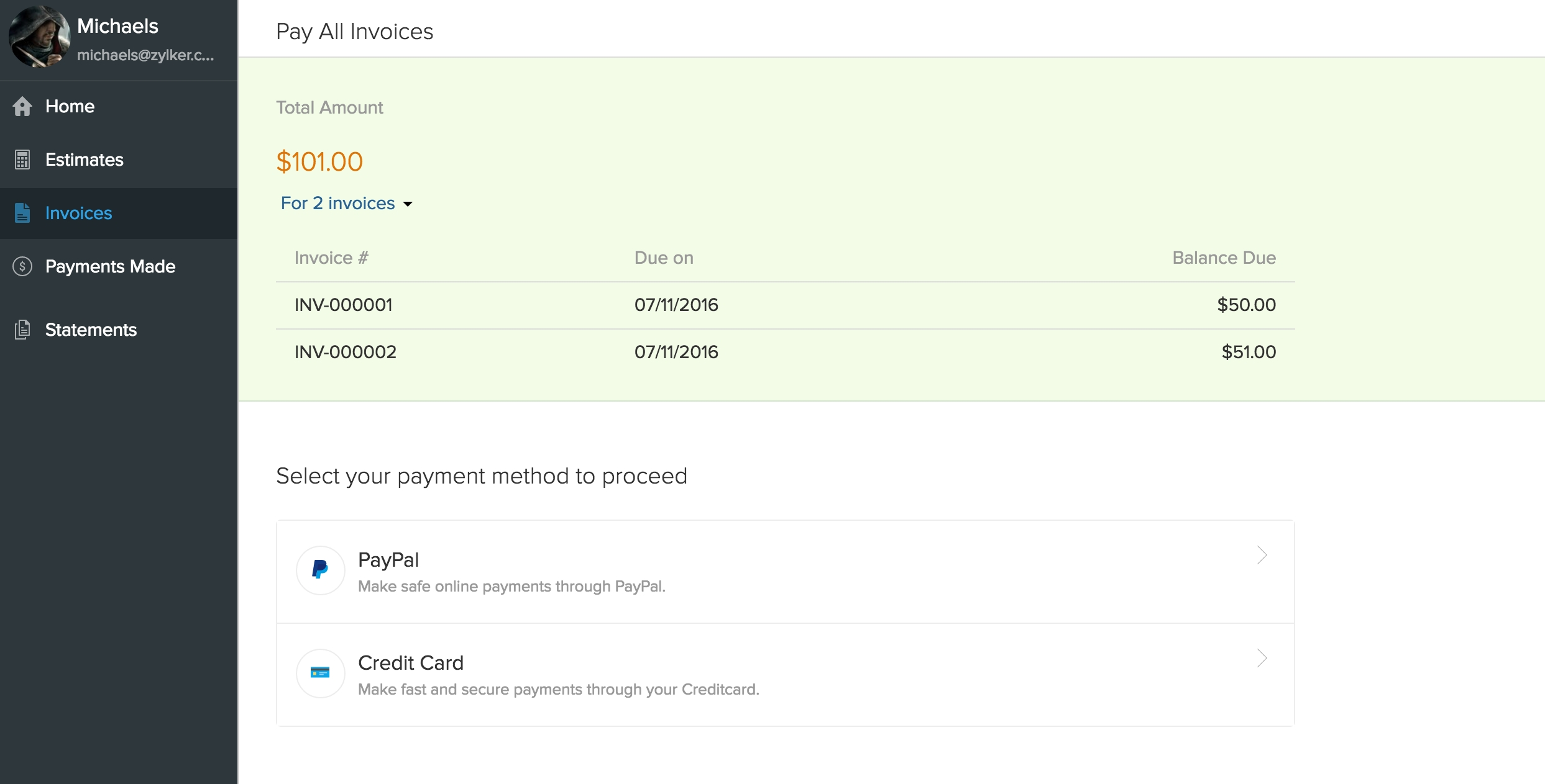 invoice payment details client portal user guide zoho books 2486 X 1263