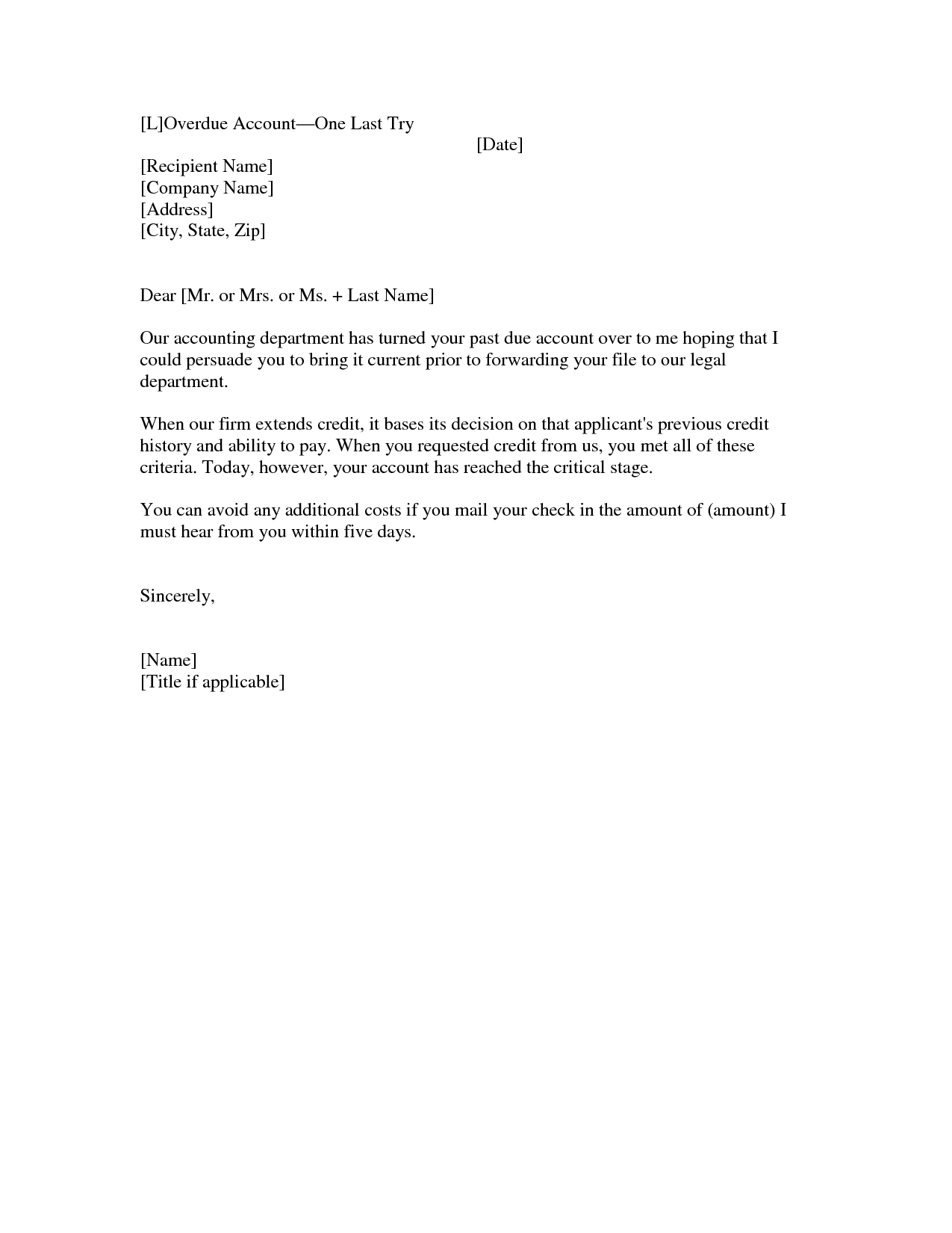Sample Past Due Invoice Letter
